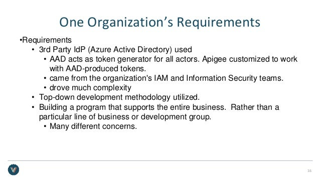 One Organization's Requirements •Requirements • 3rd Party IdP (Azure Active Directory) used • AAD acts as token generator ...