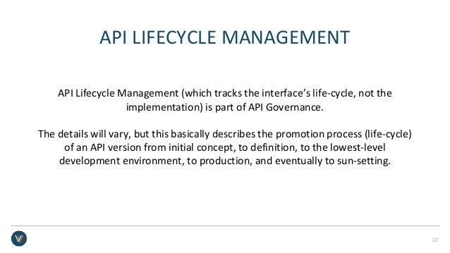 API LIFECYCLE MANAGEMENT API Lifecycle Management (which tracks the interface's life-cycle, not the implementation) is par...