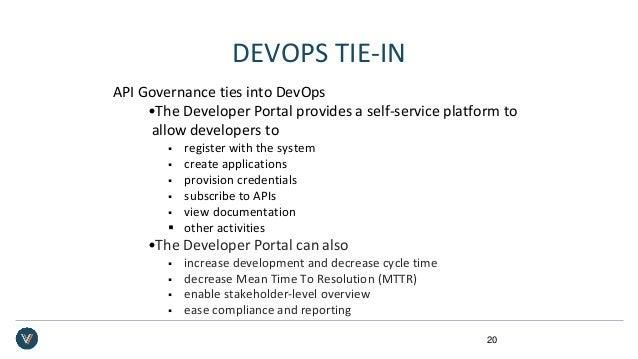 DEVOPS TIE-IN API Governance ties into DevOps •The Developer Portal provides a self-service platform to allow developers t...