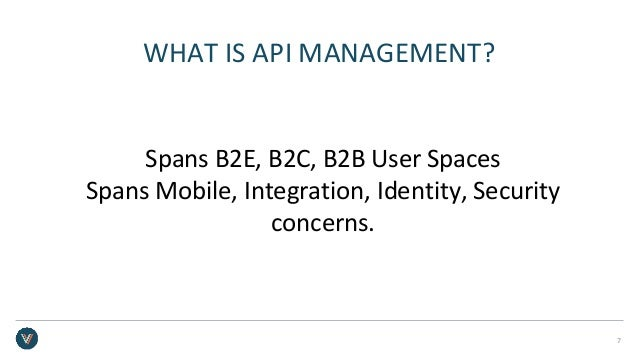WHAT IS API MANAGEMENT? Spans B2E, B2C, B2B User Spaces Spans Mobile, Integration, Identity, Security concerns. 7