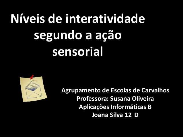 Níveis de interatividade    segundo a ação        sensorial         Agrupamento de Escolas de Carvalhos              Profe...