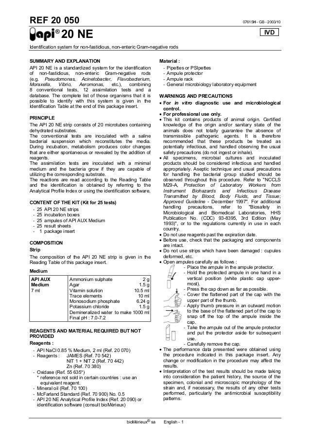 api20 ne 1 rh slideshare net API 20E Test biomerieux api 20e instructions