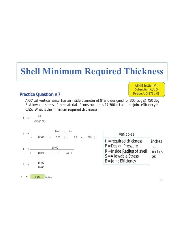 25 Practice Question # 15 What is the minimum required thickness for the heads of a horizontal vessel with hemispherical h...