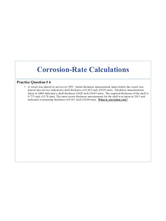24 Variables for Remaining Life Calcs Remaining Life RL = tactual_Last trequired Corrosion Rate Section 7, par 7.2.1