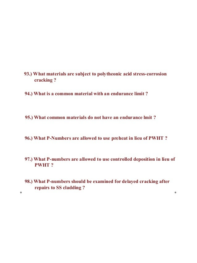 WPQ # of Bend Specimens 63 Answer:
