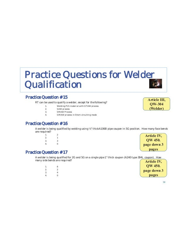 Practice Questions for Reviewing WPS/PQR 91 Is the F# qualified in accordance with ASME Section IX? Result – NO, ER304 is ...
