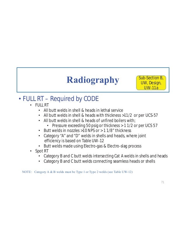 """Joint Efficiency based on Radiography RT 1 – Full RT per UW 11(a), except UW(a)(5) Use Column """"a"""" of Table UW 12 For Seaml..."""
