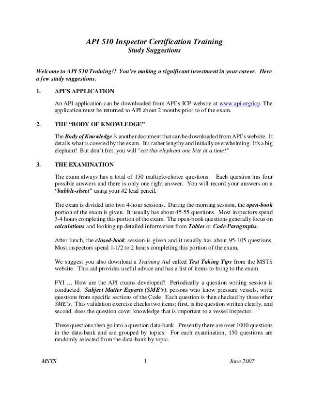 api 510 study plan rh slideshare net