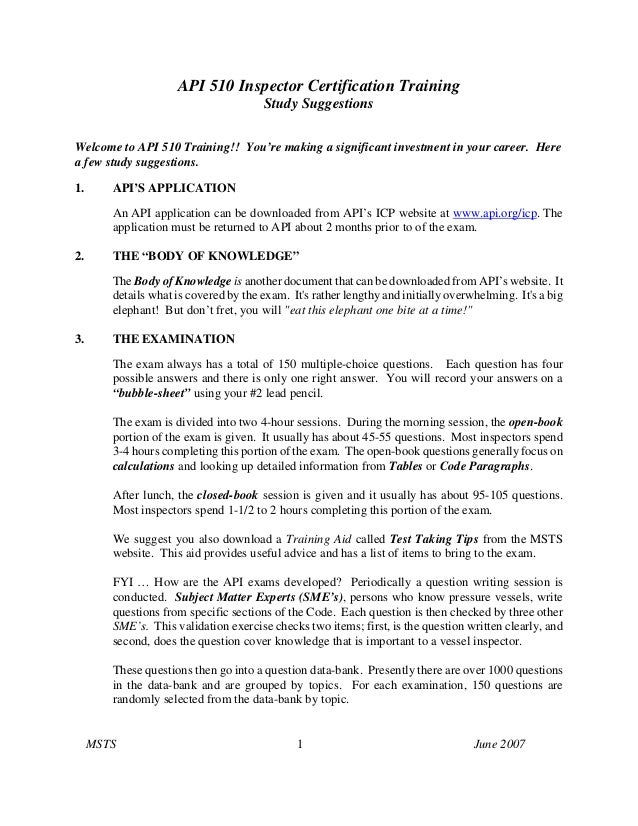 API 510 Inspector Certification TrainingStudy SuggestionsMSTS 1 June 2007Welcome to API 510 Training!! You're making a sig...