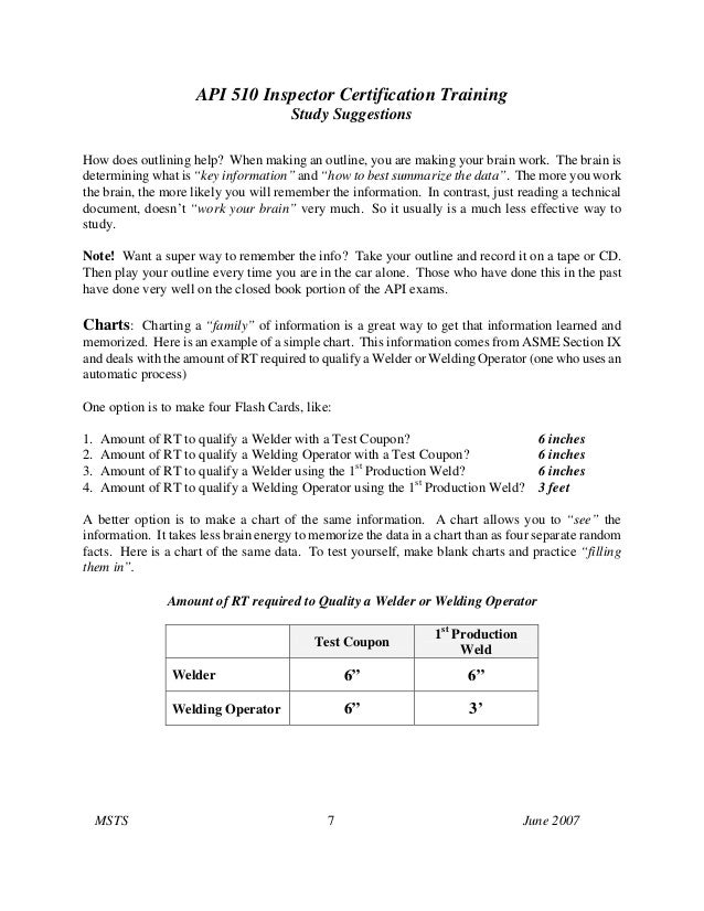 API 510 Inspector Certification TrainingStudy SuggestionsMSTS 7 June 2007How does outlining help? When making an outline, ...