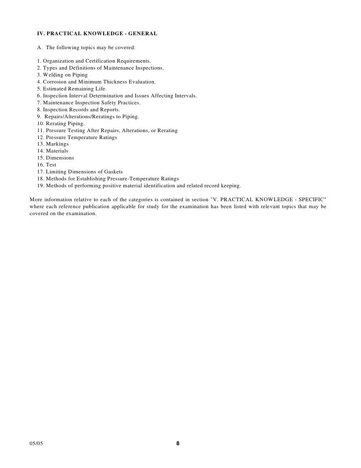 IV. PRACTICAL KNOWLEDGE - GENERAL   A. The following topics may be covered:   1. Organization and Certification Requiremen...