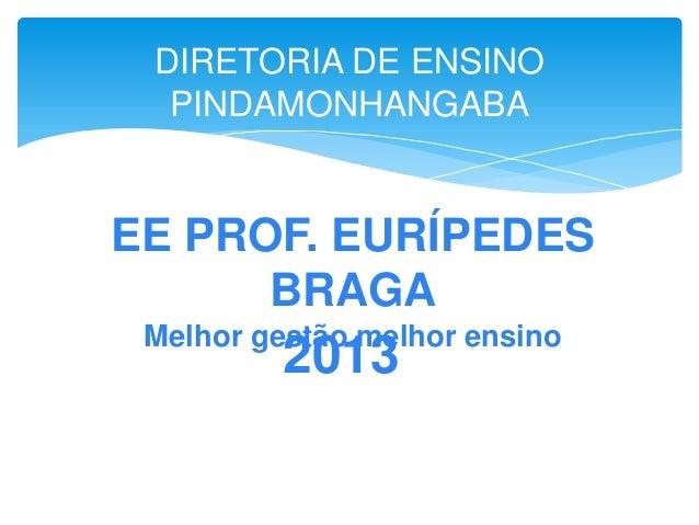 EE PROF. EURÍPEDES BRAGA Melhor gestão melhor ensino 2013 DIRETORIA DE ENSINO PINDAMONHANGABA