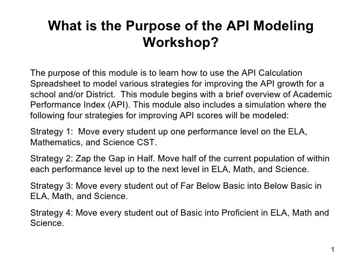 The purpose of this module is to learn how to use the API Calculation Spreadsheet to model various strategies for improvin...