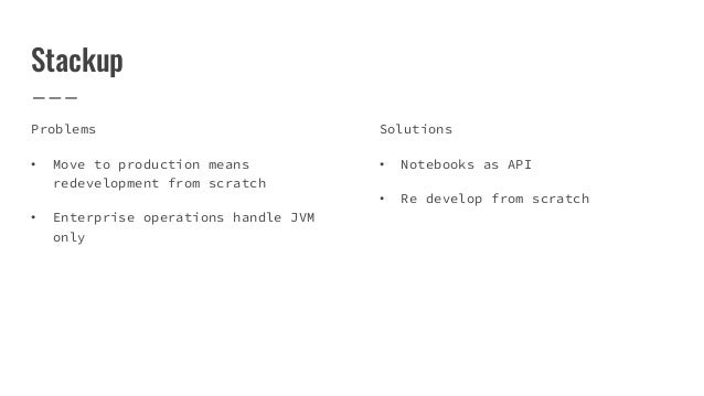 Stackup Problems • Move to production means redevelopment from scratch • Enterprise operations handle JVM only Solutions •...