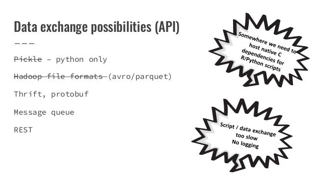 Data exchange possibilities (API) Pickle – python only Hadoop file formats (avro/parquet) Thrift, protobuf Message queue R...