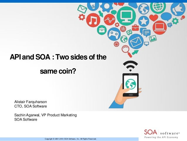 API and SOA : Two sides of the same coin?  Alistair Farquharson CTO, SOA Software Sachin Agarwal, VP Product Marketing SOA...
