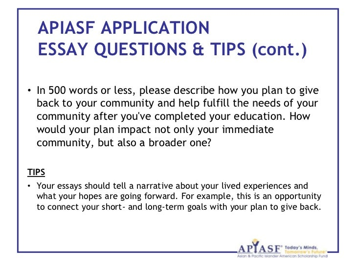 introduction to the asian pacific islander american scholarship fun  15 apiasf application essay