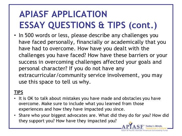Apiasf scholarship essay help