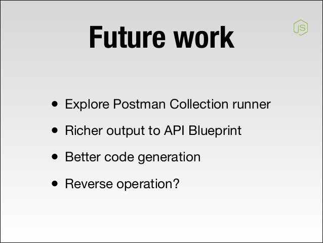 Api code generation 22 apiblueprint2nodejs 23 future work explore postman collection runner richer output to api blueprint better code generation malvernweather Image collections