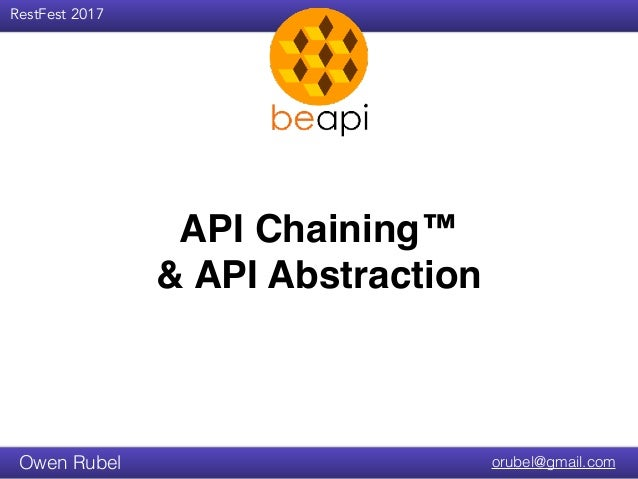RestFest 2017 orubel@gmail.comOwen Rubel API Chaining™ & API Abstraction