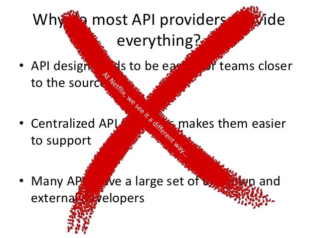 Data Gathering Data Formatting Data Delivery API Consumer Don't care how data is gathered, as long as it is gathered API P...