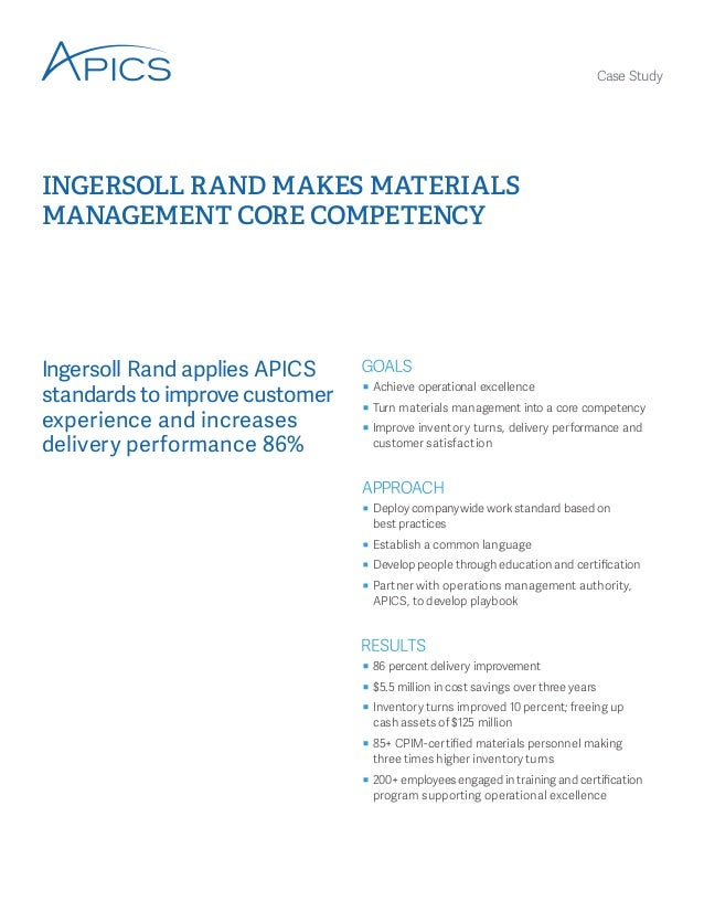 Ingersoll Rand Makes Materials Management Core Competency
