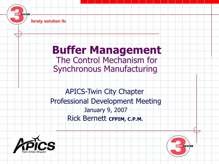 Buffer Management The Control Mechanism for Synchronous Manufacturing  APICS-Twin City Chapter  Professional Development M...