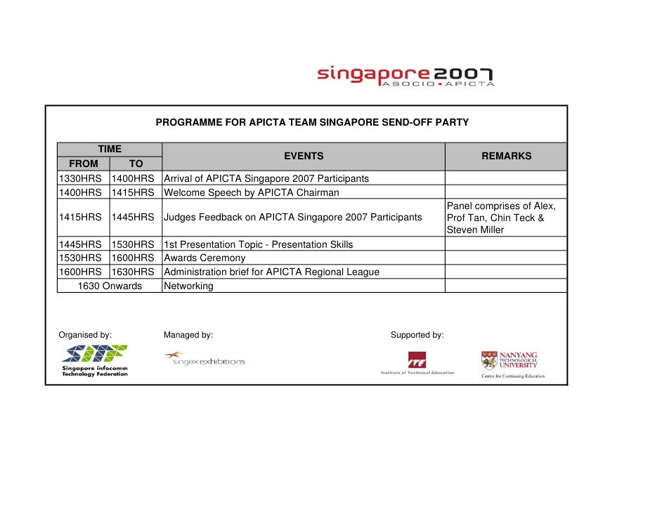 PROGRAMME FOR APICTA TEAM SINGAPORE SEND-OFF PARTY        TIME                                           EVENTS           ...