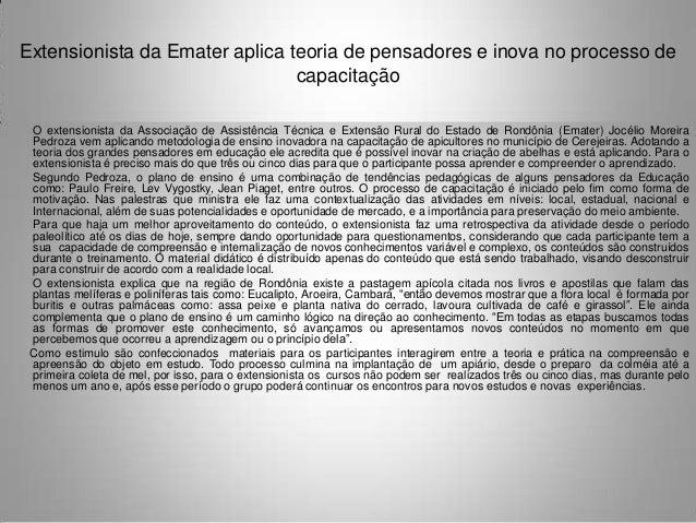 Extensionista da Emater aplica teoria de pensadores e inova no processo de                                capacitação O ex...