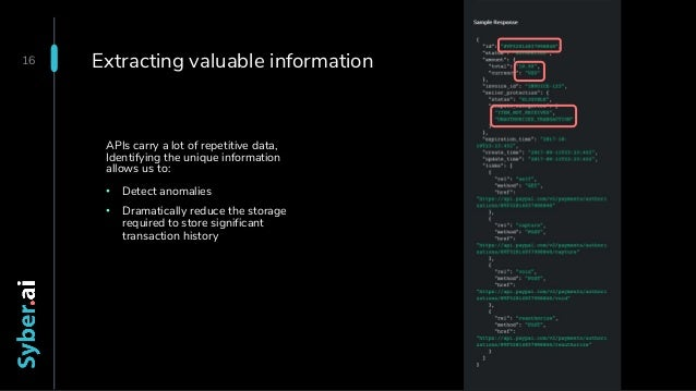 Extracting valuable information APIs carry a lot of repetitive data, Identifying the unique information allows us to: • De...