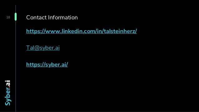 Confidential Contact Information 18 https://www.linkedin.com/in/talsteinherz/ Tal@syber.ai https://syber.ai/