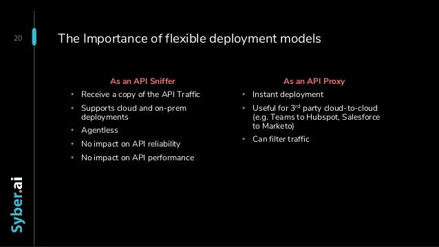 The Importance of flexible deployment models 20 As an API Proxy • Instant deployment • Useful for 3rd party cloud-to-cloud...