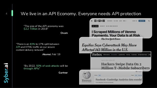 """We live in an API Economy. Everyone needs API protection """"By 2022, 50% of web attacks will be through APIs"""" Gartner 4 """"The..."""