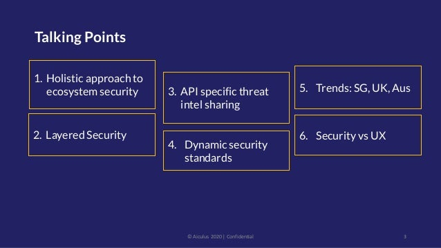Talking Points 3 1. Holistic approach to ecosystem security 5. Trends: SG, UK, Aus © Aiculus 2020   Confidential 3. API sp...