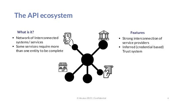 The API ecosystem 4  Strong interconnection of service providers  Inferred (credential based) Trust system © Aiculus 202...