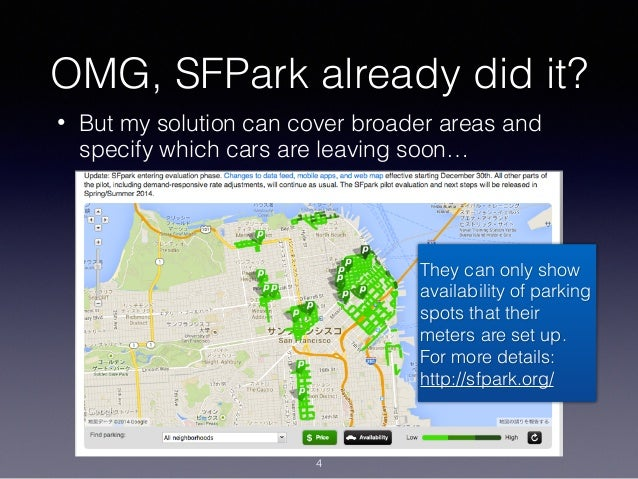 OMG, SFPark already did it? • But my solution can cover broader areas and specify which cars are leaving soon… They can on...