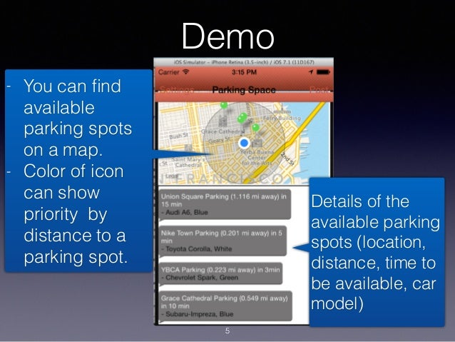 Demo - You can find available parking spots on a map. - Color of icon can show priority by distance to a parking spot. Deta...