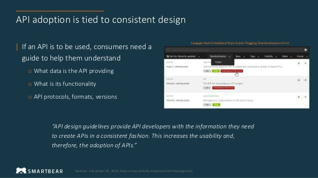 API adoption is tied to consistent design | If an API is to be used, consumers need a guide to help them understand o What...