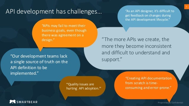 """Proprietary & Confidential 5 """"The more APIs we create, the more they become inconsistent and difficult to understand and s..."""