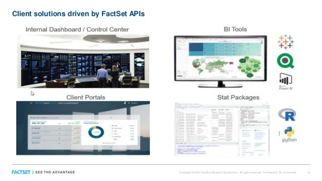 Client solutions driven by FactSet APIs Copyright © 2020 FactSet Research Systems Inc. All rights reserved. Confidential: ...