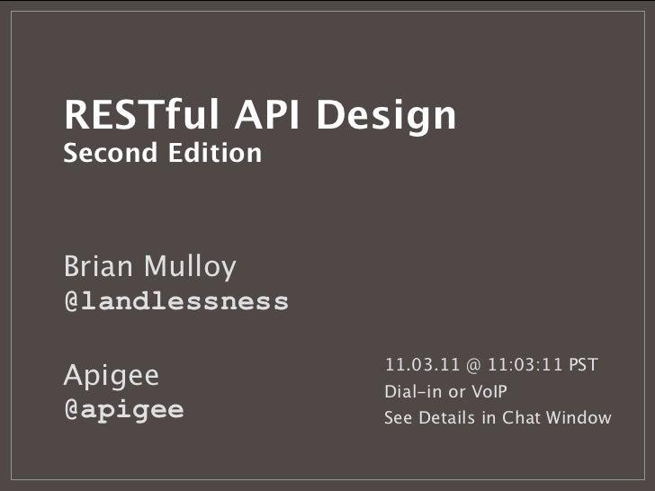 restful api design second edition