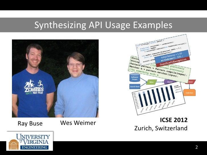 Synthesizing API Usage ExamplesRay Buse   Wes Weimer               ICSE 2012                           Zurich, Switzerland...