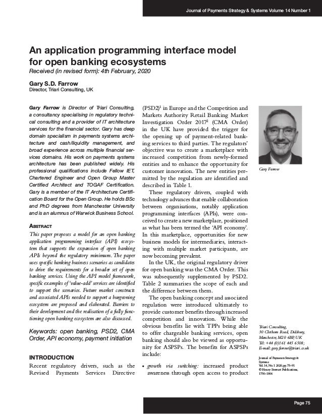 Journal of Payments Strategy & Systems Volume 14 Number 1 Page 75 Journal of Payments Strategy & Systems Vol.14,No.1 2020,...