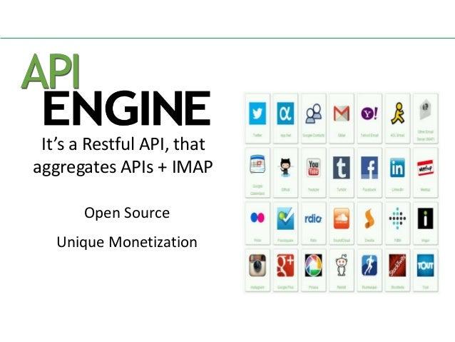 It's a Restful API, that aggregates APIs + IMAP Open Source Unique Monetization