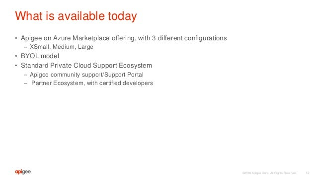 ©2016 Apigee Corp. All Rights Reserved. What is available today • Apigee on Azure Marketplace offering, with 3 different c...