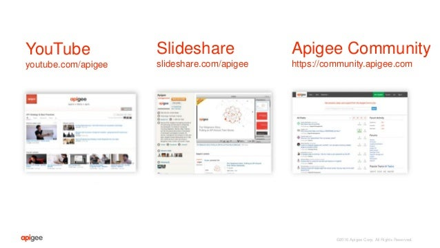 ©2016 Apigee Corp. All Rights Reserved. Slideshare slideshare.com/apigee Apigee Community https://community.apigee.com You...
