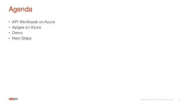 ©2016 Apigee Corp. All Rights Reserved. Agenda • API Workloads on Azure • Apigee on Azure • Demo • Next Steps 4