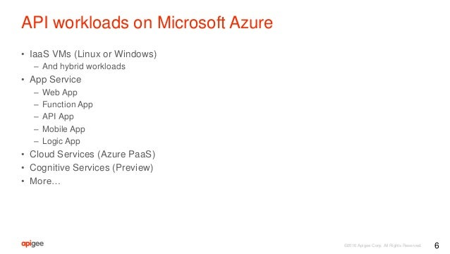 ©2016 Apigee Corp. All Rights Reserved. API workloads on Microsoft Azure • IaaS VMs (Linux or Windows) – And hybrid worklo...