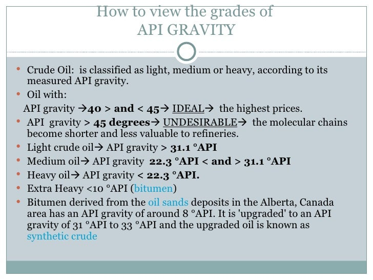 Crude Oil Specific Gravity Of Crude Oil