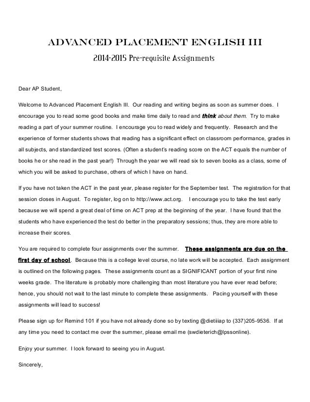 Advanced Placement English III 2014-2015 Pre-requisite Assignments Dear AP Student, Welcome to Advanced Placement English ...